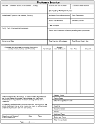 Export Proforma Invoice Format Invoice Format In Excel For