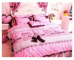 pink and black bed sets tower girls lace ruffle bedding in a bag