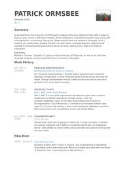 Financial Representative Resume Samples Visualcv Resume Samples