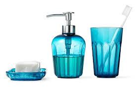 bathroom utilities. Turquoise IKEA Sink Accessories, SVARTSJÖN: Soap Dish, Dispenser And Mug For The Bathroom Utilities E