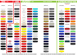3m Striping Tape Chart Vinyl Color Charts