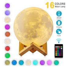 <b>ZK20 LED Night Light</b> 3D Print Moon Lamp Rechargeable Color ...