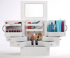 luxury deluxe wood cosmetic box organizer with mirror white 90 degree rotatale jewelry box storage