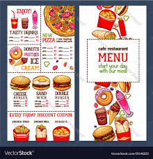 Resturant Menu Template Fast Food Restaurant Menu Template Royalty Free Vector Image