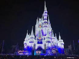 Frozen Holiday Wish Castle Lighting Show Photos Cinderella Castle Lights Up Main Street In Magic