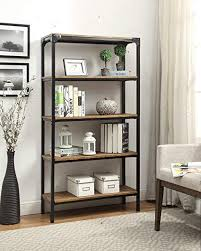 industrial look furniture. 5-tier Vintage Brown Industrial Look Black Metal Bookcase Bookshelf Shelf  Heavy Duty Industrial Look Furniture .