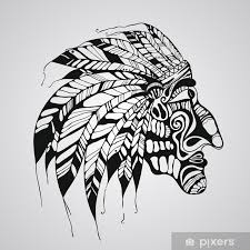Nálepka Vektor Tetování Rodilý Američan Indiánský Náčelník Pixerstick
