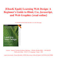 Learning Web Design Free Ebook Ebook Epub Learning Web Design A Beginners Guide To Html