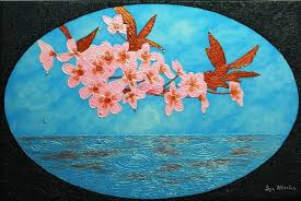 sakura soul japanese cherry blossom large semi abstract painting liza wheeler painting acrylic on canvas