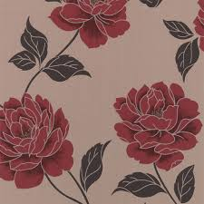 Red Wallpaper Designs For Living Room Colours Ella Cream Red Floral Wallpaper The Ojays Feature