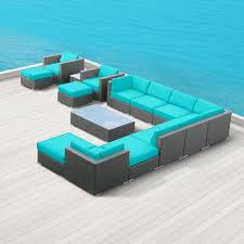 modern outdoor patio furniture. Amazon.com : Modern Outdoor Patio Furniture Wicker Bella 15 PIECE TURQUOISE Sets Patio, Lawn \u0026 Garden