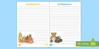 Picnic Template Teddy Bears Picnic Themed Shopping List Writing Template Teddy Bears