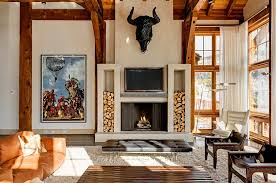 Rustic Living Room Decor with Smart Log Fireplace Storage Ideas, Simple  Indoor Fireplace, Simple
