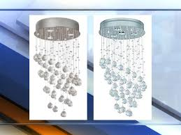 more than 10 000 crystal chandeliers sold exclusively at home depot have been recalled because the halogen bulbs sold with the chandeliers can melt parts of