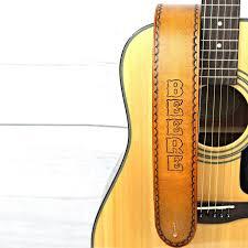 custom made custom tan leather guitar strap