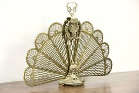 SOLD Peacock Fan Brass Vintage Folding Fireplace Screen Harp.