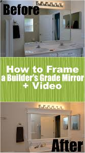 How To Frame A Builders Grade Mirror Before And After Via - Crown molding for bathroom