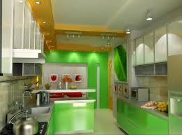 Kitchen:Contemporary Kitchen With Green Decoration And Modular Kitchen  Island Also Checkered Floor Refreshing Green