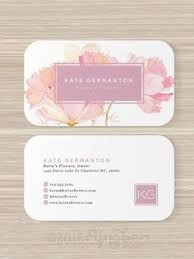 fl business card florist monogram watercolor pink flowers artist