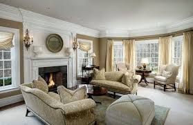 living room with fire place. formal living room with beige furniture fireplace and bay window fire place