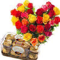 birthday gifts to guntur 30 mix roses heart 16 pcs ferrero rocher chocolates to guntur