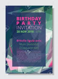 Birthday Party Invitation Card Template A4 Size Colorful Abstract
