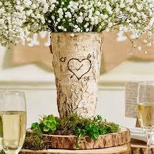 personalised rustic birch wood vase personalised wedding gifts