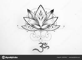 графика лотос эскиз Lotus и ом знаки на белом фоне стоковое фото