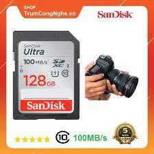 Mã 158ELSALE hoàn 7% đơn 300K] Thẻ nhớ Máy Ảnh SD Sandisk Utral Class10  128GB 100MB/s - Tốc độ cao