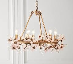 grace blush glass flower brass chandelier