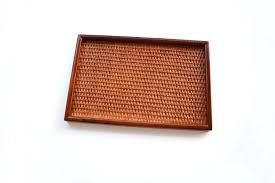 rattan wood new item wood serving tray board rattan with wood material vintage wooden tray for