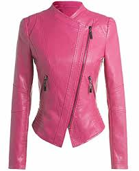 women s motorcycle slim fit hot pink leather jacket