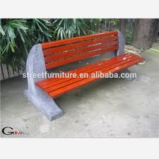 concrete garden bench. Outdoor Solid Wood And Concrete Garden Bench With Backrest D