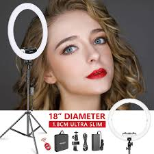 Neewer Ring Light Review Neewer Ring Light Kit Upgraded Version 1 8cm Ultra Slim 18 Inches 3200 5600k Dimmable Led Ring Light With Light Stand Phone Clip Hot Shoe Adapter