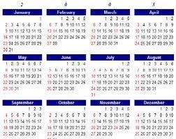 year calender calendar year