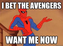 Image result for spiderman avengers meme
