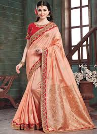 Best Saree Design For Wedding Best Peach Wedding Designer Traditional Saree