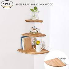Oak Corner Shelves Wall Mount Classy Amazon INMAN Wooden Corner Shelf 32 Pcs Round End Hanging Wall