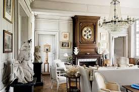 chic french country living room with luxury crystal chandelier