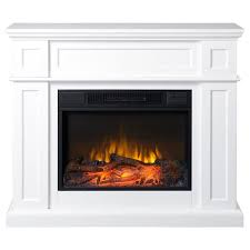 41 wide electric fireplace mantle in white
