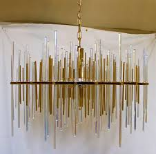 rare sciolari italian irridescent glass rod chandelier in excellent condition for in palm springs