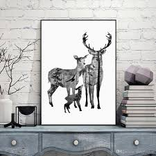 nordic vintage deer head silhouette posters black white animals art prints wall picture canvas painting scandinave home decoration unframed wall art prints  on wall decor prints posters with nordic vintage deer head silhouette posters black white animals art