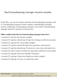 Top 8 housekeeping manager resume samples In this file, you can ref resume  materials for ...