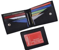kids black bifold genuine leather slim credit card id holder boys wallet new men