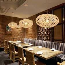 decoration japanese style pendant lamp light texture oval shaped wooden lights for restaurant