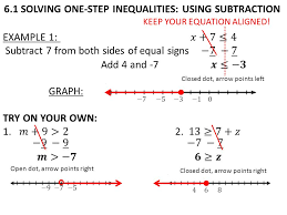 6 1 solving one step inequalities using subtraction keep your equation aligned