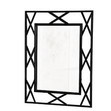 black picture frame. Breana Rectangle Black Frame Metal Mirror Picture