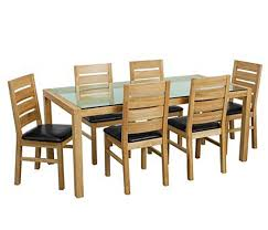 solid oak glass top dining table set with six chairs