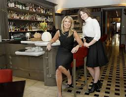 catherine left and justine macfee in the bar area at chalkboard restaurant catherine