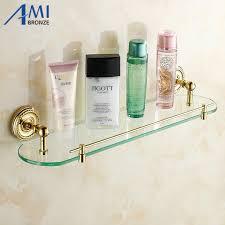 wall mounted golden polished bathroom accessories bathroom glass holder shelves racks